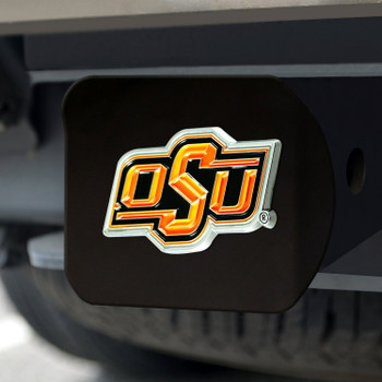Oklahoma State University Hitch Cover - Color on Black