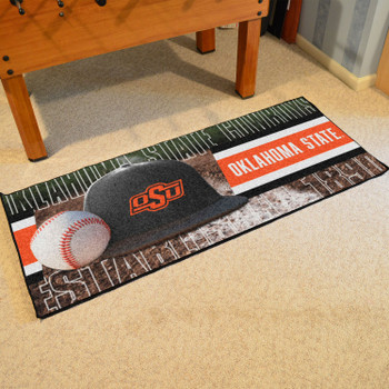 "30"" x 72"" Oklahoma State Baseball Style Rectangle Runner Mat"