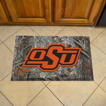 "19"" x 30"" Oklahoma State University Rectangle Camo Scraper Mat - ""OSU"" Logo"