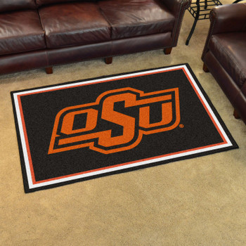 4' x 6' Oklahoma State University Black Rectangle Rug