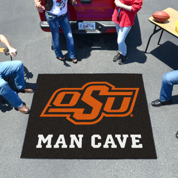 "59.5"" x 71"" Oklahoma State University Man Cave Tailgater Black Rectangle Mat"