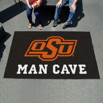 """59.5"""" x 94.5"""" Oklahoma State University Man Cave Black Rectangle Ulti Mat"""