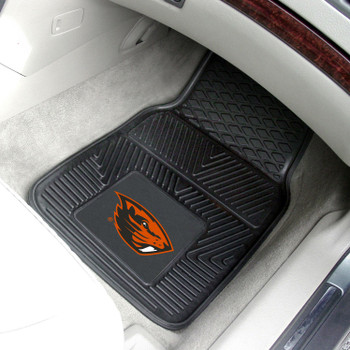 Oregon State University Heavy Duty Vinyl Front Black Car Mat, Set of 2