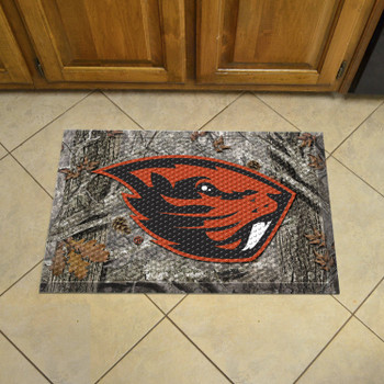 "19"" x 30"" Oregon State University Rectangle Camo Scraper Mat - ""Beaver"" Logo"