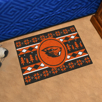 "19"" x 30"" Oregon State University Holiday Sweater Brown Rectangle Starter Mat"