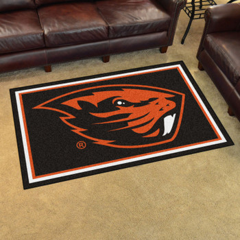 4' x 6' Oregon State University Black Rectangle Rug