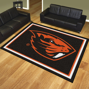 8' x 10' Oregon State University Black Rectangle Rug