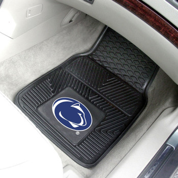 Penn State Heavy Duty Vinyl Front Black Car Mat, Set of 2