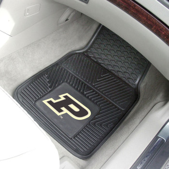 Purdue University Heavy Duty Vinyl Front Black Car Mat, Set of 2