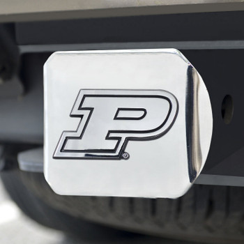 Purdue University Hitch Cover - Chrome on Chrome