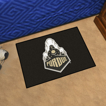 "19"" x 30"" Purdue University Train Logo Black Rectangle Starter Mat"