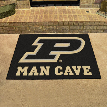 "33.75"" x 42.5"" Purdue University Man Cave All-Star Black Rectangle Mat"