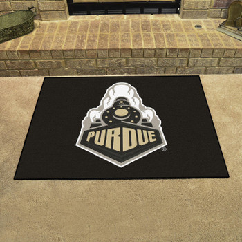 "33.75"" x 42.5"" Purdue University Train Logo All Star Black Rectangle Mat"