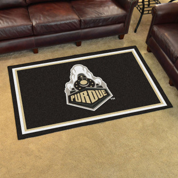 4' x 6' Purdue University Train Logo Black Rectangle Rug