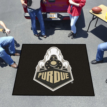 "59.5"" x 71"" Purdue University Train Logo Black Tailgater Mat"