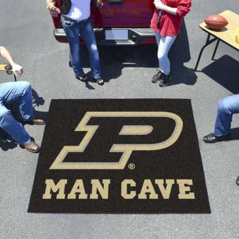 "59.5"" x 71"" Purdue University Man Cave Tailgater Black Rectangle Mat"