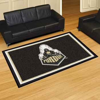 5' x 8' Purdue University Train Logo Black Rectangle Rug