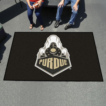 "59.5"" x 94.5"" Purdue University Train Logo Black Rectangle Ulti Mat"
