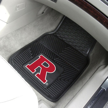 Rutgers University Heavy Duty Vinyl Front Black Car Mat, Set of 2