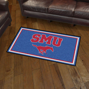 3' x 5' Southern Methodist University Blue Rectangle Rug