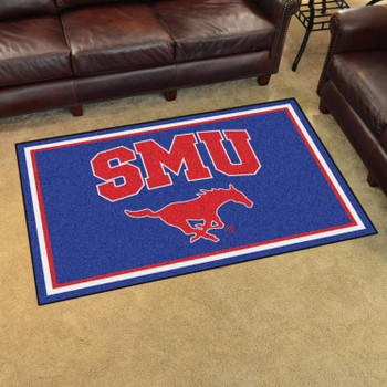 4' x 6' Southern Methodist University Blue Rectangle Rug