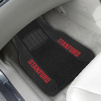 Stanford University Deluxe Vinyl & Black Carpet Car Mat, Set of 2
