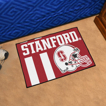 """19"""" x 30"""" Stanford University Football Helmet Red Rectangle Starter Mat"""