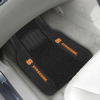 Syracuse University Deluxe Vinyl & Black Carpet Car Mat, Set of 2