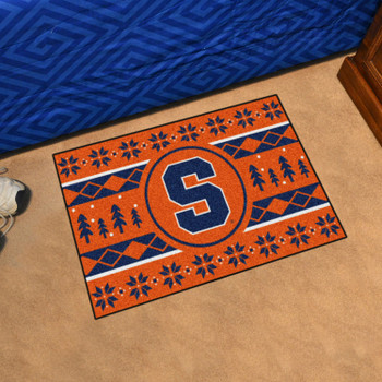 "19"" x 30"" Syracuse University Holiday Sweater Orange Rectangle Starter Mat"