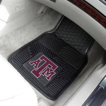 Texas A&M University Heavy Duty Vinyl Front Black Car Mat, Set of 2