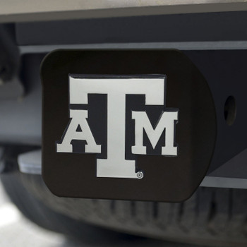 Texas A&M University Hitch Cover - Chrome on Black