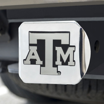 Texas A&M University Hitch Cover - Chrome on Chrome