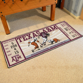 "30"" x 72"" Texas A&M University Ticket Rectangle Runner Mat"