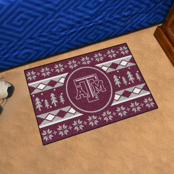 "19"" x 30"" Texas A&M University Holiday Sweater Maroon Rectangle Starter Mat"
