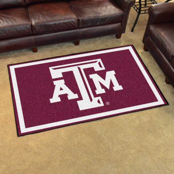 4' x 6' Texas A&M University Maroon Rectangle Rug