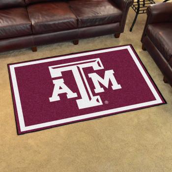 4' x 6' Texas A&M University Maroon Rectangle Rug