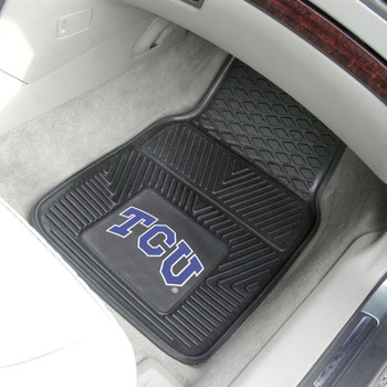 Texas Christian University Heavy Duty Vinyl Front Black Car Mat, Set of 2