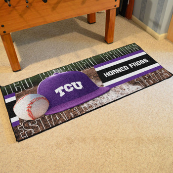 "30"" x 72"" TCU Baseball Style Rectangle Runner Mat"