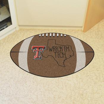 "20.5"" x 32.5"" Texas Tech University Southern Style Football Shape Mat"