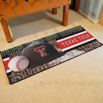 "30"" x 72"" Texas Tech Baseball Style Rectangle Runner Mat"
