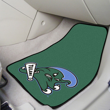 Tulane University Green Carpet Car Mat, Set of 2