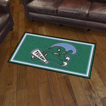 3' x 5' Tulane University Green Rectangle Rug