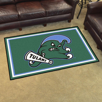 4' x 6' Tulane University Green Rectangle Rug