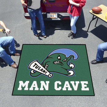 "59.5"" x 71"" Tulane University Man Cave Tailgater Green Rectangle Mat"