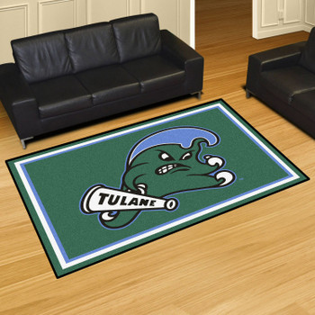 5' x 8' Tulane University Green Rectangle Rug