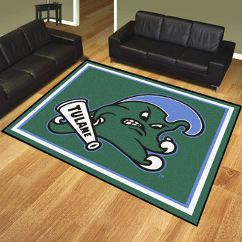 8' x 10' Tulane University Green Rectangle Rug