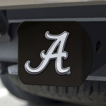 University of Alabama Hitch Cover - Chrome on Black