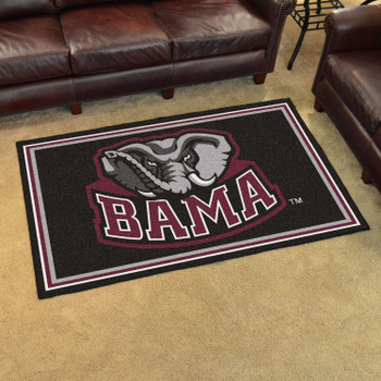4' x 6' University of Alabama Black Rectangle Rug