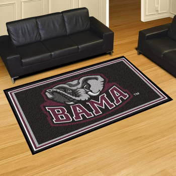 5' x 8' University of Alabama Black Rectangle Rug