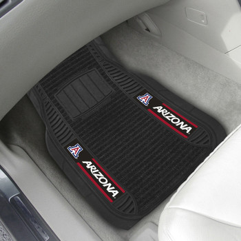 University of Arizona Deluxe Vinyl & Black Carpet Car Mat, Set of 2